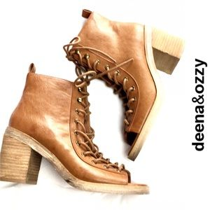 Deena & Ozzy Peep-Toe lace up boots size 8